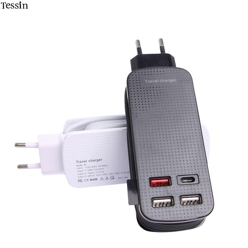 TESSIN Multi Port USB Voyage Chargeur 50 w Qualcomm QC3.0 Type-C Pour iPhone 5S 6 s 7 Plus samsung Huawei ZTE Meizu Xiaomi Adaptateur