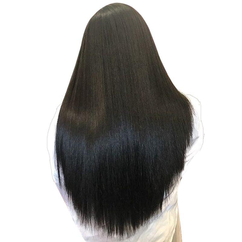 Синтетические волосы на кружеве Человеческие волосы Искусственные парики для Для женщин натуральный черный 250% высокой плотности бразильс...