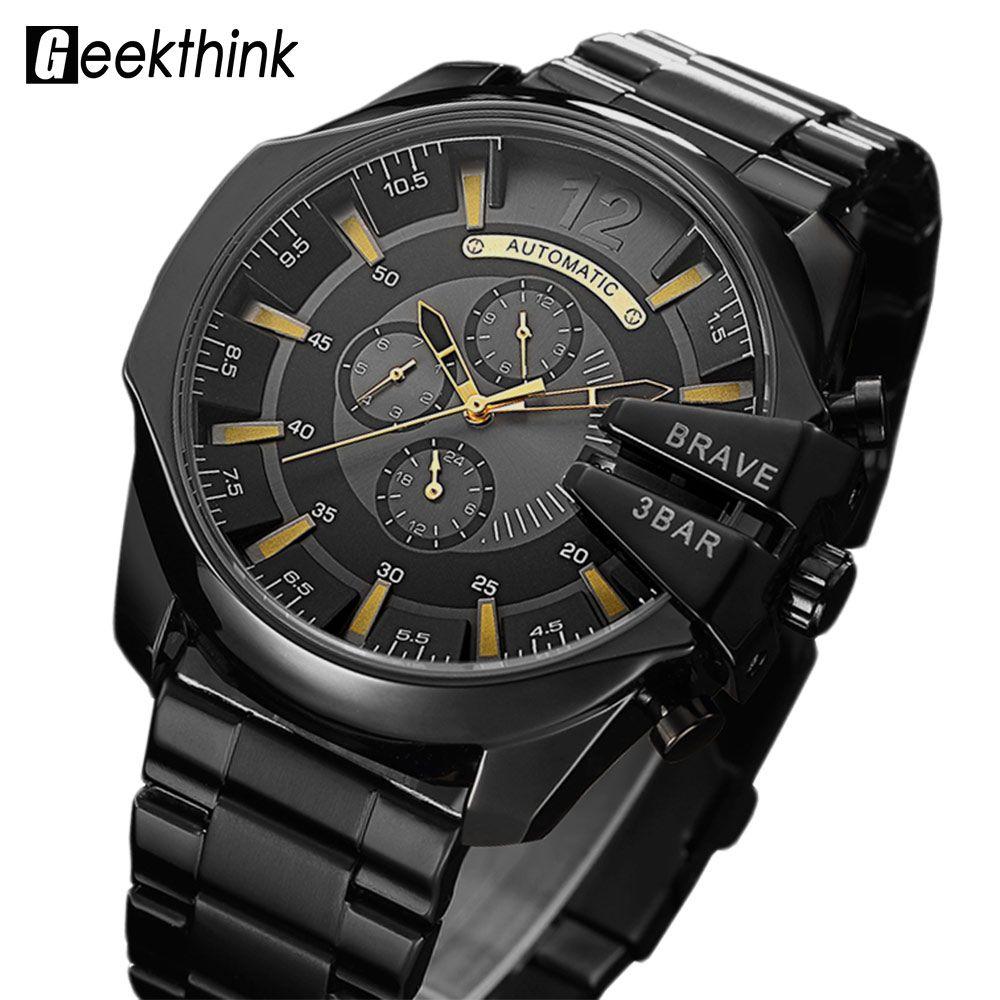 Top Luxury Brand Automatic Mechanical Watch Men's Self wind Wrist watch Stainless Steel Fashion Sports Clock Male Steampunk New