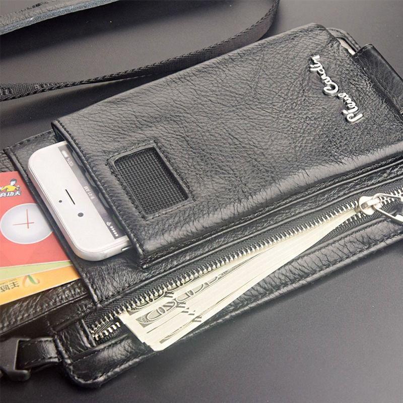 Pierre Cardin Umhängetasche Mann Tasche Echten Leders Taschenriemen für Sumsung Galaxie S6 S7 Rand S8 S9 Plus Handy tasche