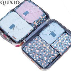 2017 nuevos bolsos de viaje populares 6 unids/set doble cremallera impermeable poliéster hombres y mujeres equipaje embalaje cubos plegable ML150Z