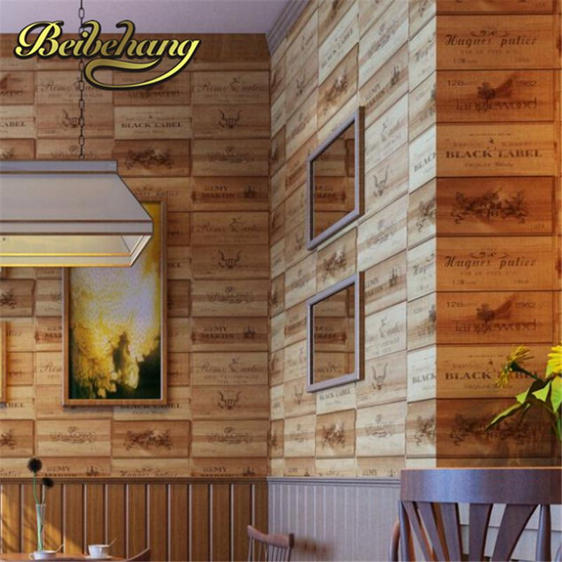 beibehang papel de parede. Wood box pvc 3D Vintage Retro Decorative Wine Box Plaid Zakka background wall wallpaper for living