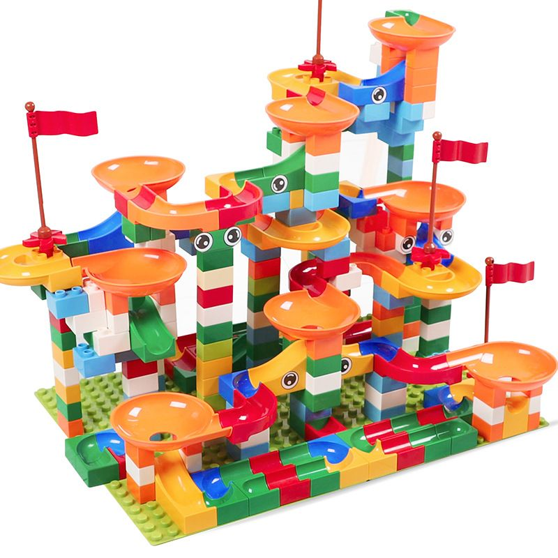 74-296 PCS Marble Race Run Maze Ball Track Building Blocks ABS Funnel Slide Assemble Bricks Compatible Legoed Duplo Blocks Toys