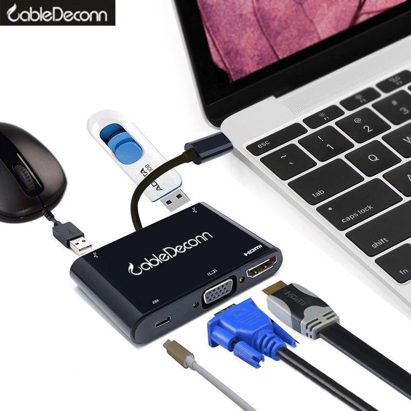 Thunderbolt 3 hub USB type C vers HDMI VGA adaptateur usb3.1 2usb3. 0 câble de charge USB-C Multiport hub adaptateur convertisseur pour Macbook