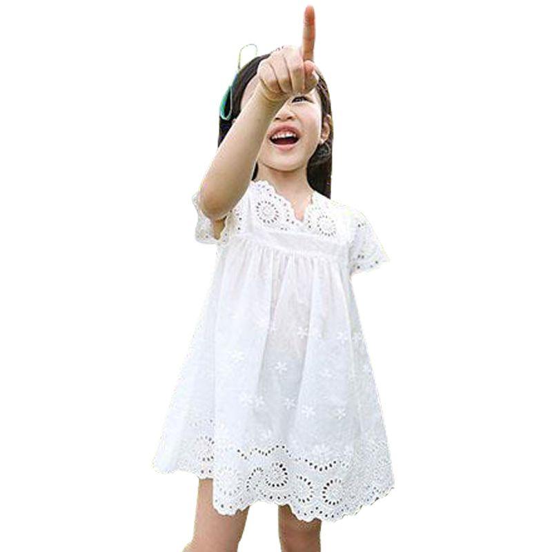 Filles vêtements été 2019 filles coton dentelle robe pour enfants enfants vêtements blanc dentelle princesse coréenne mignon robe taille 100-140