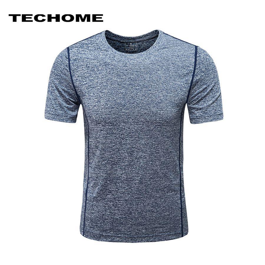 Брендовая одежда короткий рукав Для мужчин быстрое высыхание футболка эластичные компрессионные плотно круглый воротник футболки мужские...