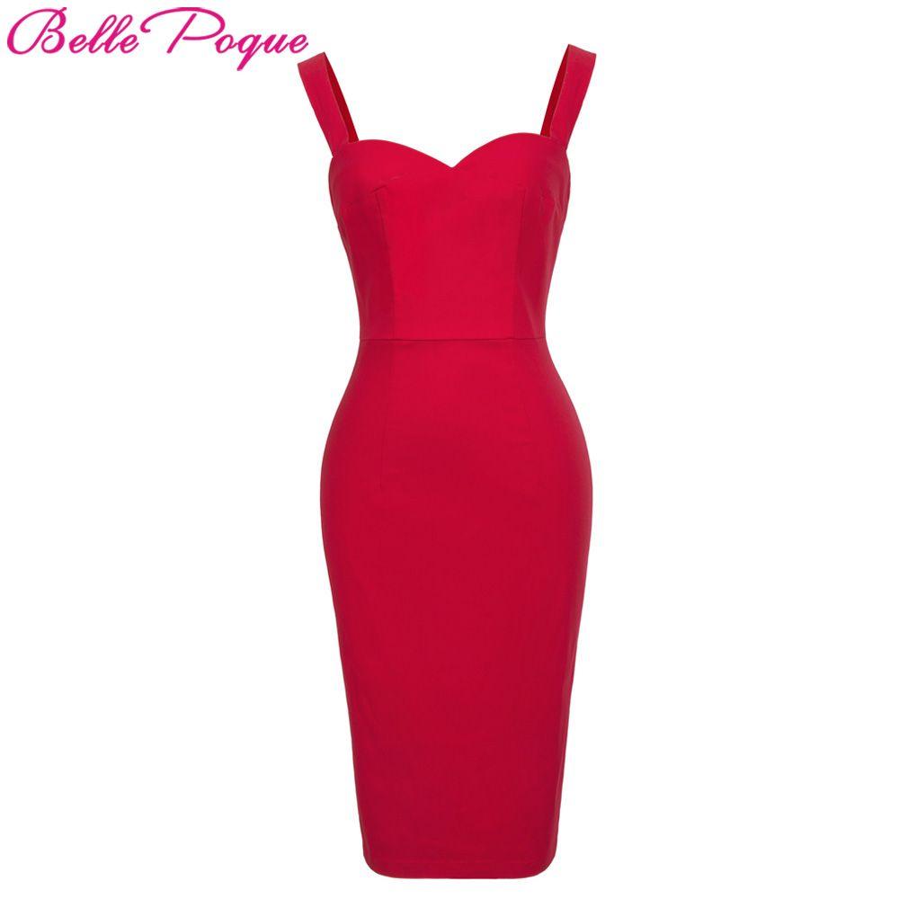 <font><b>Belle</b></font> Poque Sexy Women Casual Dress Sleeveless Bodycon Dresses 2018 Summer Vintage Red Club Party Sheath Pencil Dress Vestidos