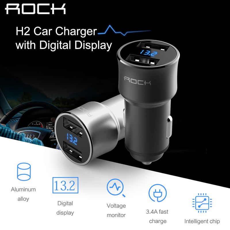 Rock 5V 3.4A Dual USB LED Digital Display Car Charger,high quality aluminum alloy car phone charger with retail package