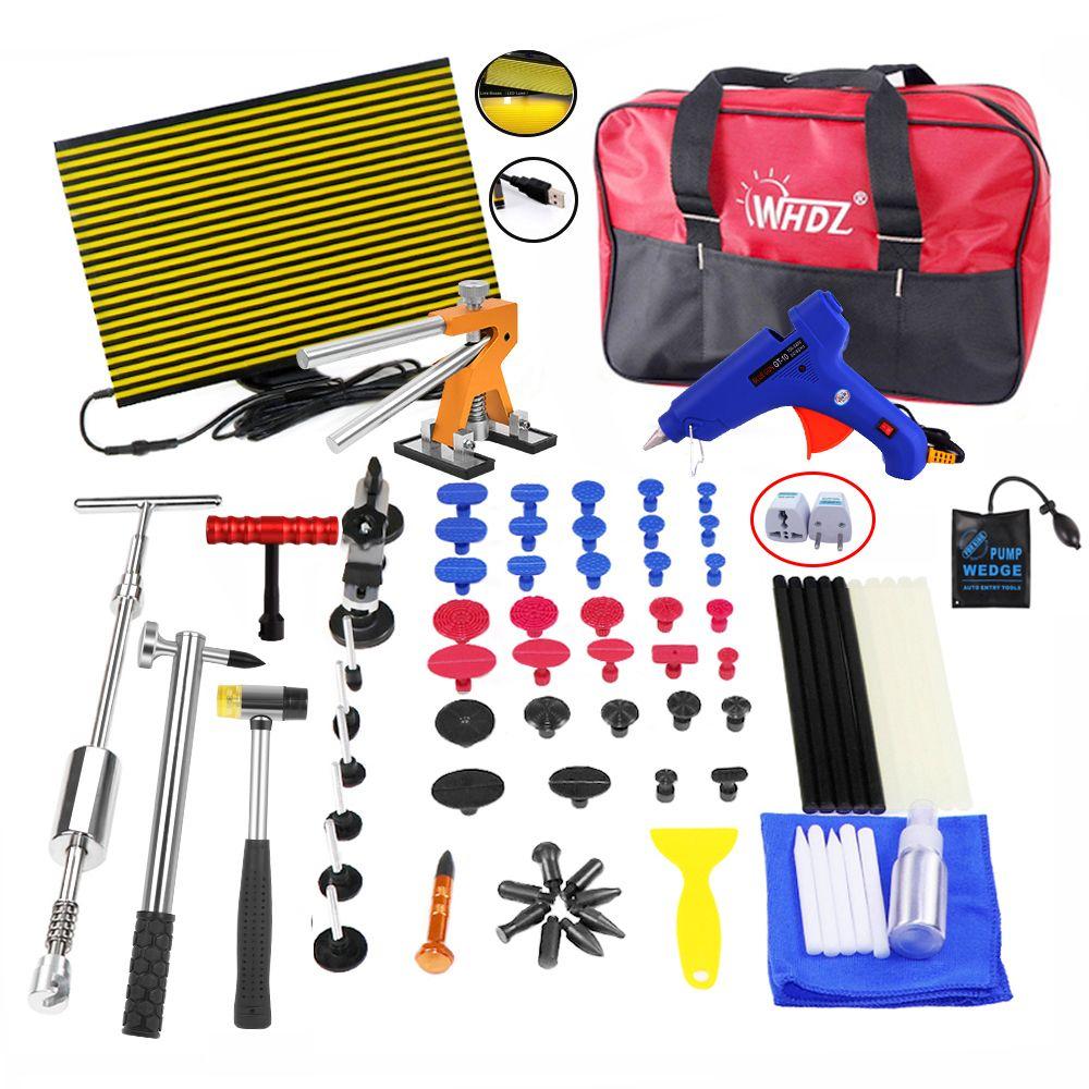 WHZD PDR Tools Kit Paintless Dent Repair Dent Removal Car Tools Repair Dent Puller Glue Gun Led Reflector Board Hand Tool Set