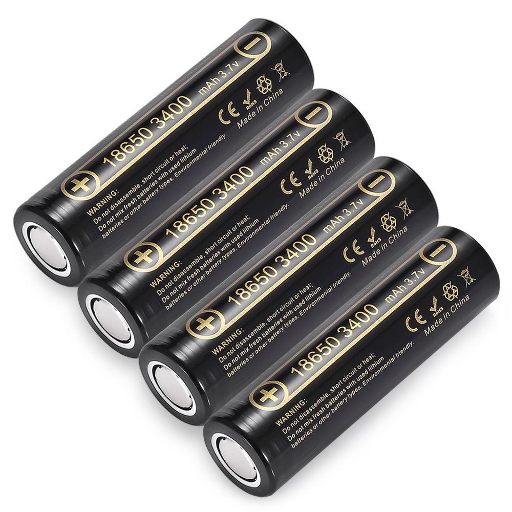 4 stücke HK LiitoKala Lii-34A 3,7 v 18650 3400 mah batterie für NCR18650B 34B Akku für taschenlampe/fackeln /lampe