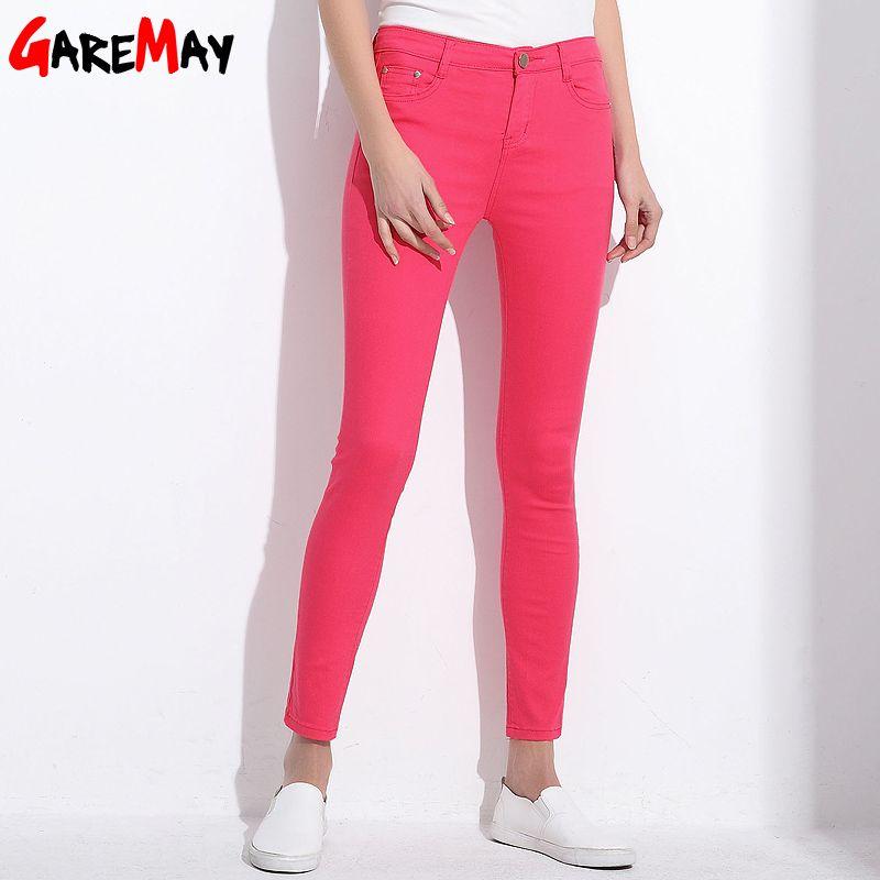 GAREMAY Caramelo de Las Mujeres Pantalones Lápiz Pantalones 2018 de Primavera Otoño Caqui Pantalones Elásticos Para Las Mujeres Señoras Delgadas Jean Pantalones Mujer 1010