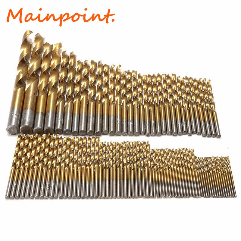99Pcs Titanium Coated HSS Drill Bits 1.5mm-10mm Stainless Steel HSS High Speed Drill Bit Set For Electrical Drill Tools Sets