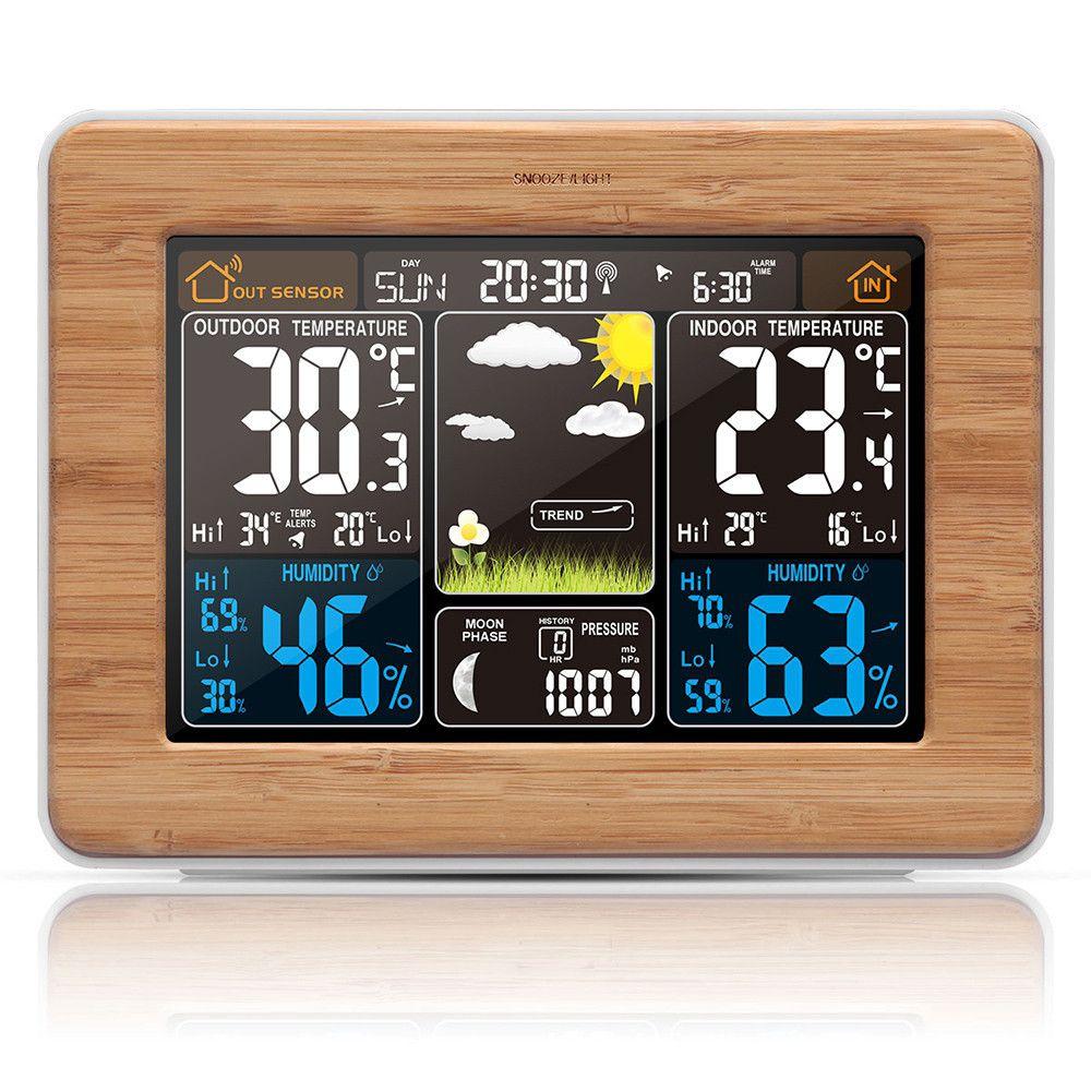 Wireless Wetter Station Farbe Prognose Mit Alarm Temperatur Feuchtigkeit Barometer Alarm Mond Phase Bunte Wetter Prognose