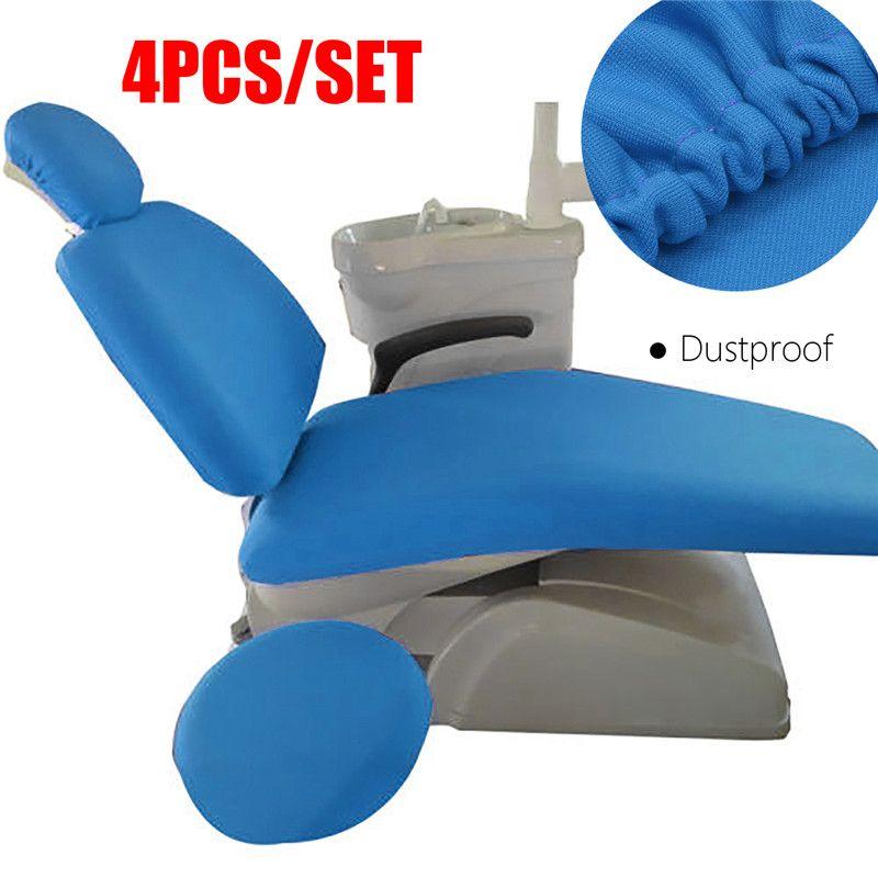 4pcs/set Elastic Fabric Dental Chair Cover Unit Washable Dustproof Dentist Stool Seat Backrest Pillow Cover Protector 7Colors