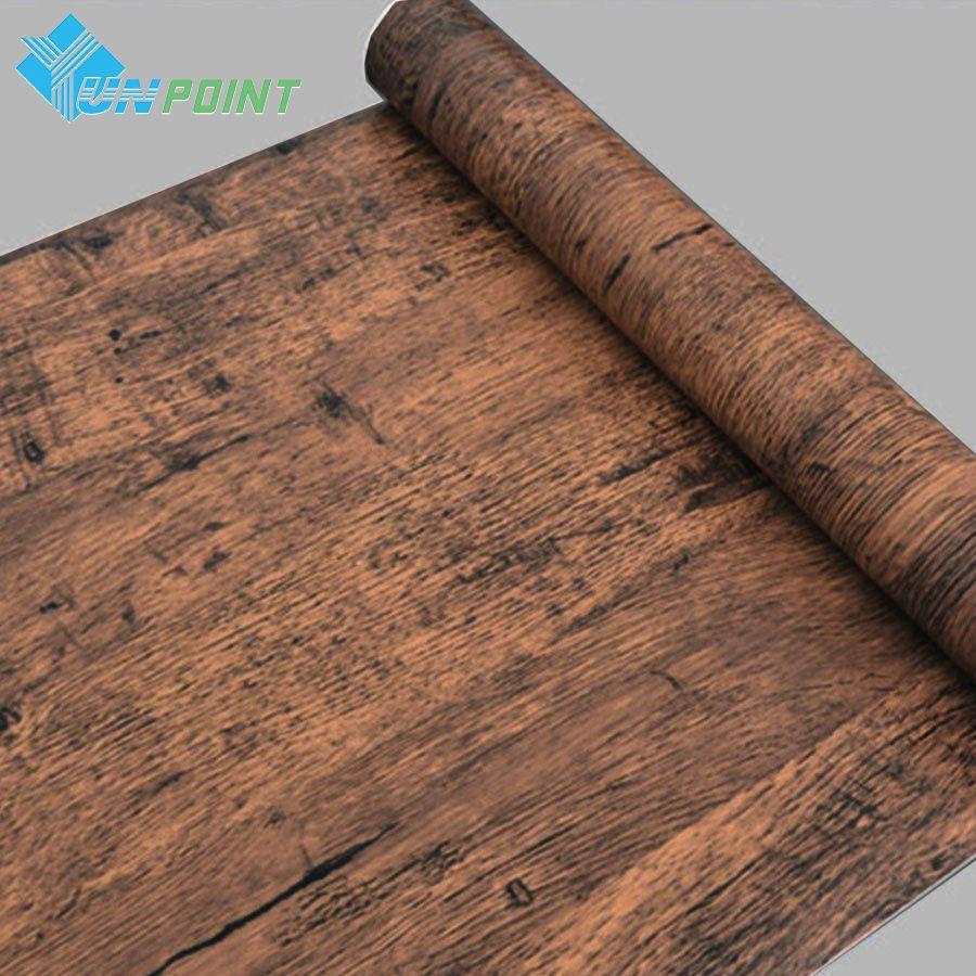 Vieux meubles en bois motif Stickers muraux PVC auto-adhésif Stickers muraux meubles armoire porte décorative papiers muraux décor à la maison