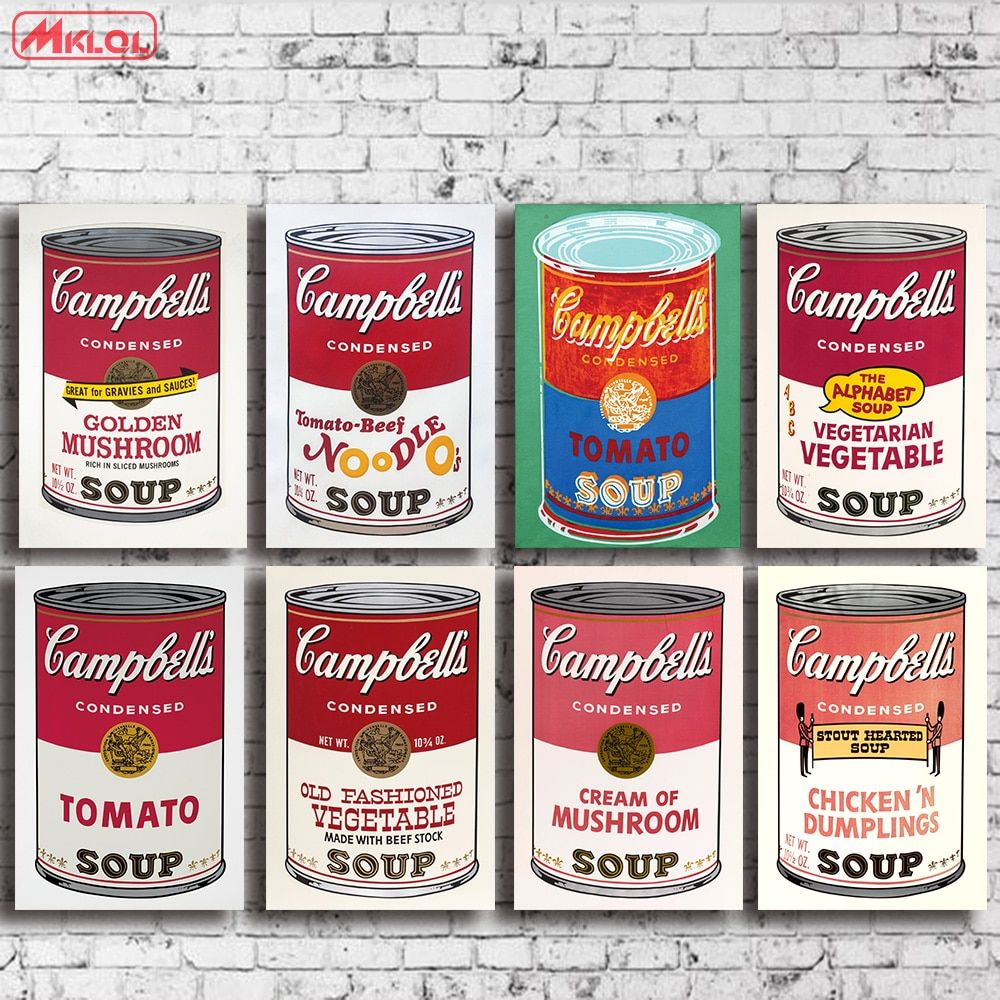 Andy warhol 8 PCS set campbell-s-soup-can-beef oil painting Prints Painting on canvas No frame Pictures Decor For Living Room