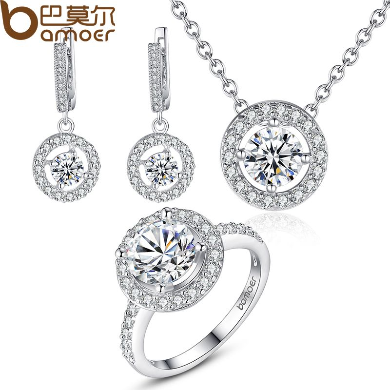 BAMOER High Quality  Silver Color Bridal Round Jewelry Sets for Women Wedding with High Quality AAA Zircon ZH006