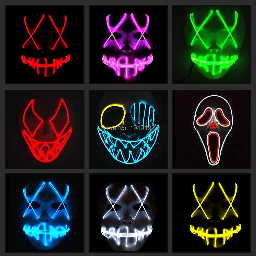 EL fil masque Lumière Up Néon LED Masque Pour Halloween demain la terre effrayant partie cosplay Masques Par 3 V Stable sur pilote