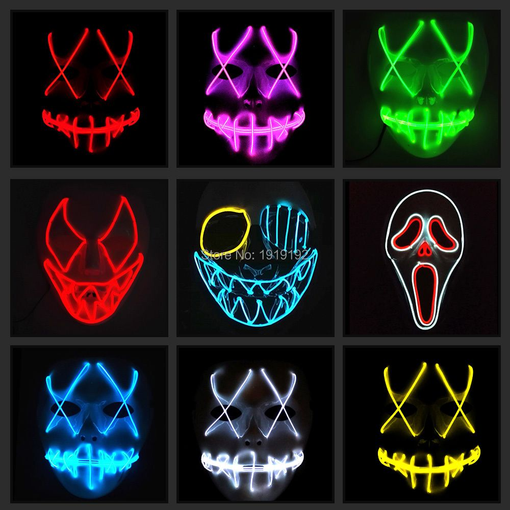 EL wire mask Light Up Neon LED Mask For Halloween tomorrow <font><b>land</b></font> scary party cosplay Masks By 3V Steady on Driver