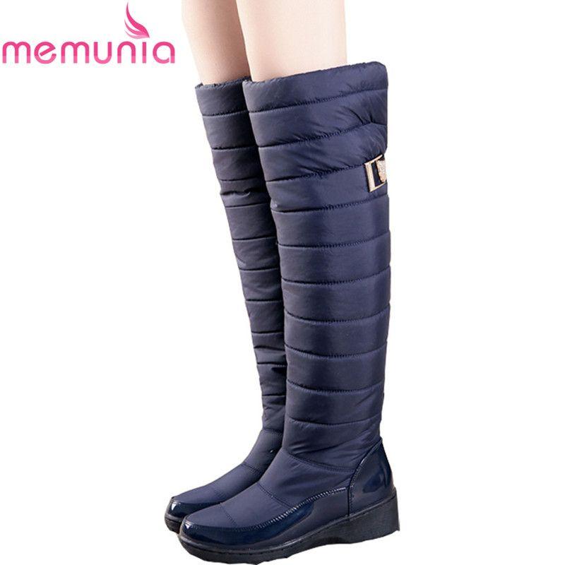 MEMUNIA Russia winter boots women warm knee high boots round toe down fur ladies fashion <font><b>thigh</b></font> snow boots shoes waterproof botas