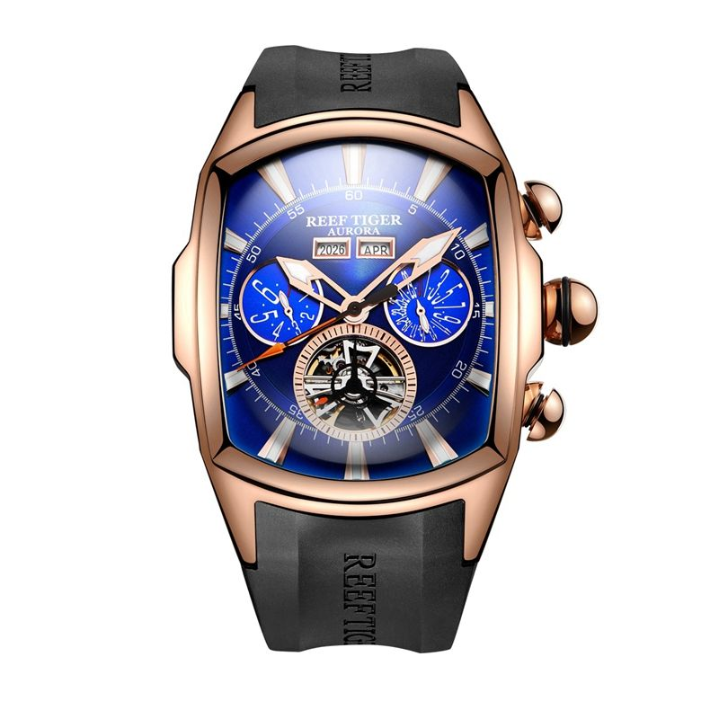 Reef Tiger/RT Big Dial Sport Watch for Men Luminous Analog Display Tourbillon Watches Rose Gold Blue Dial Wrist Watches RGA3069
