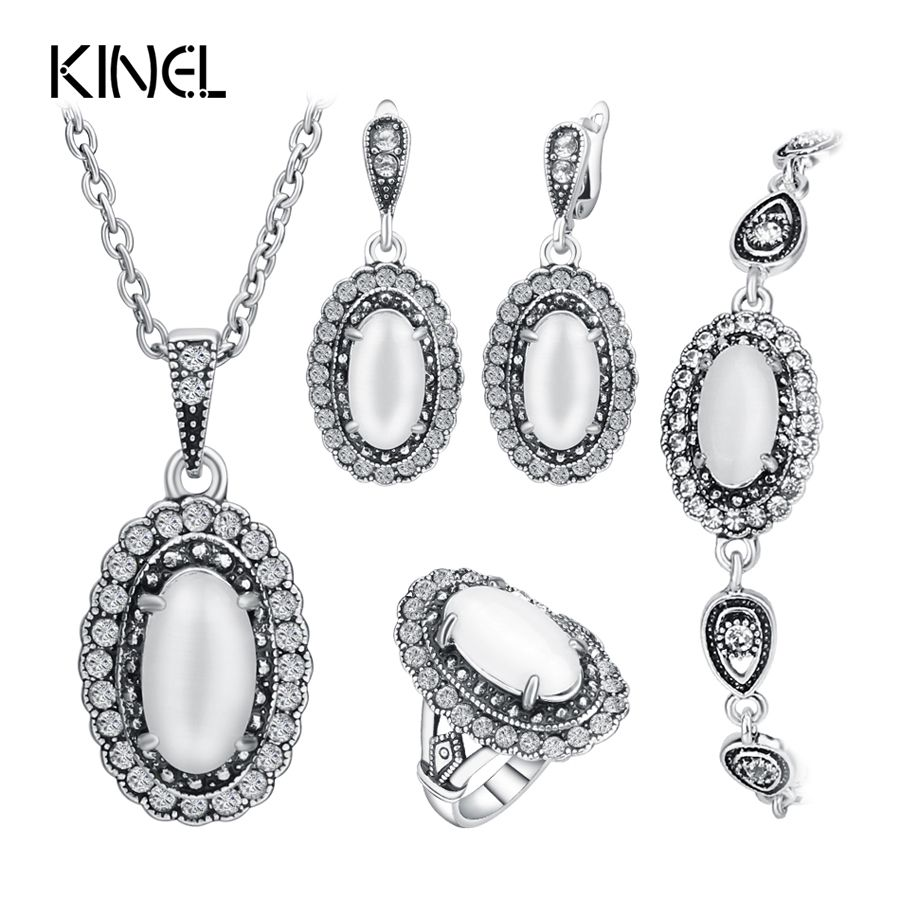 Hot Vintage Wedding Jewelry Set Color Ancient Silver 4Pcs/Sets White Opal Ring/Necklace/Bracelet And Earring For Women Valenti