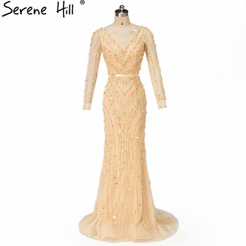 Luxury Dubai Robe De Soiree Evening Dresses 2018 Long Sleeve Backless Pearls Sequin Mermaid Long Formal Dress Party BLA6010