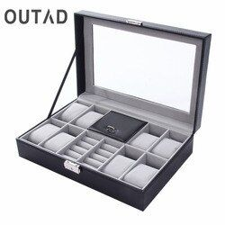 2 In One 8 Grids+3 Mixed Grids PU Leather Watch Boxes Storage Organizer Box Luxury Jewelry Ring Display Watch Case Black Top New