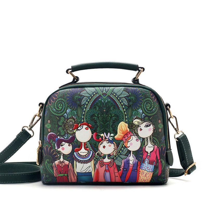 YQYDER 2017 designer luxury brand high quality PU leather ladies ladies <font><b>green</b></font> cartoon handbag shoulder bag female handbag