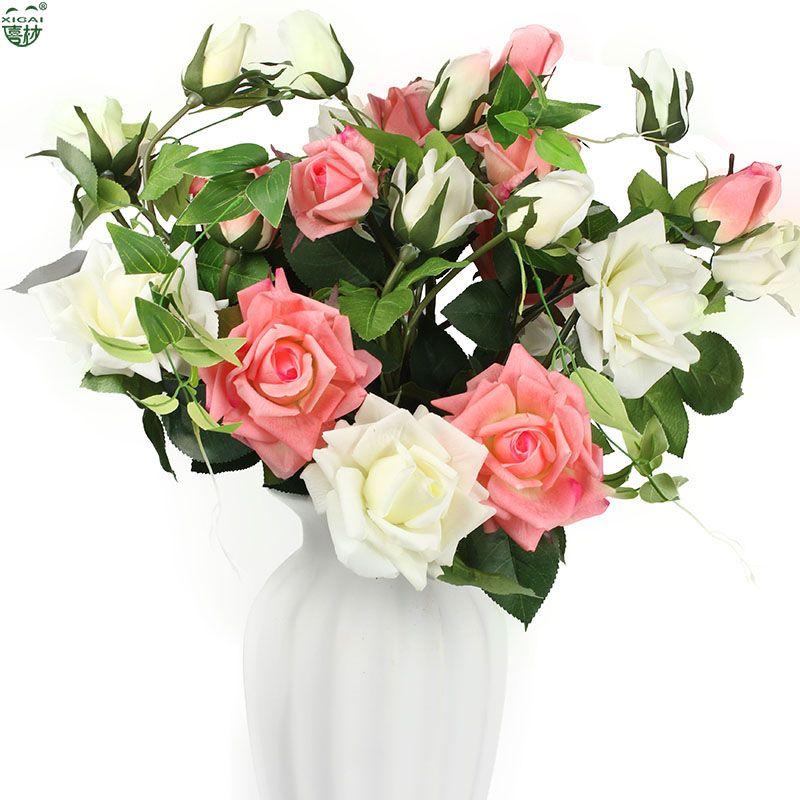 (EXTRA10% de réduction/10 pièces) 5or10PCS (2 fleur + 1Bud)/PC grande maison/mariage/fête/mariée décoration Latex artificiel vraie touche fleur Roses