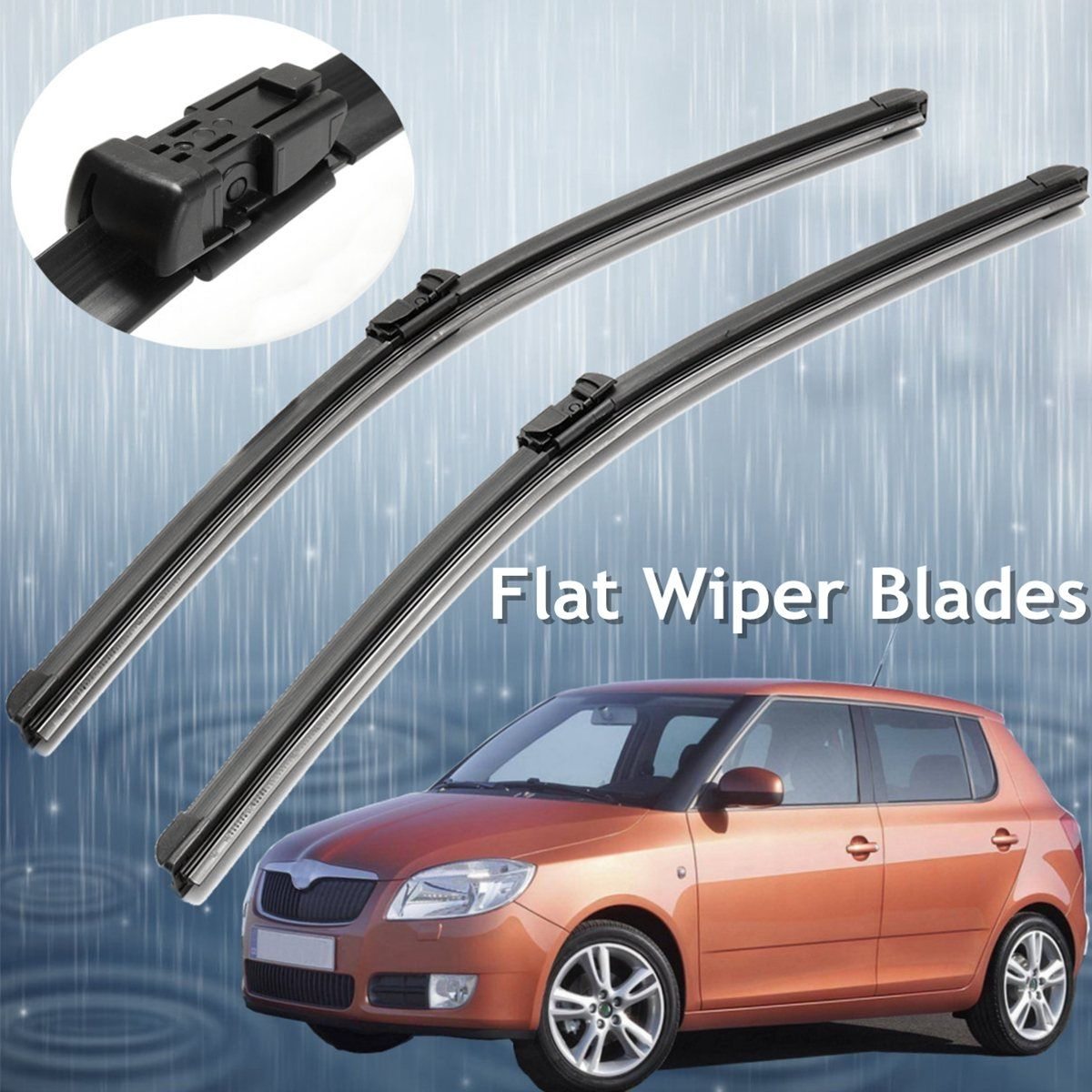 Flat Wiper Blades 21 Push Button Fitment For SKODA FABIA 2007