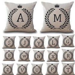 RIANCY Couronne Lettres 45*45 cm Coton Lin Coussin Housse de coussin De Voiture Décoration De La Maison Canapé Décor Décoratif Taie D'oreiller 40166