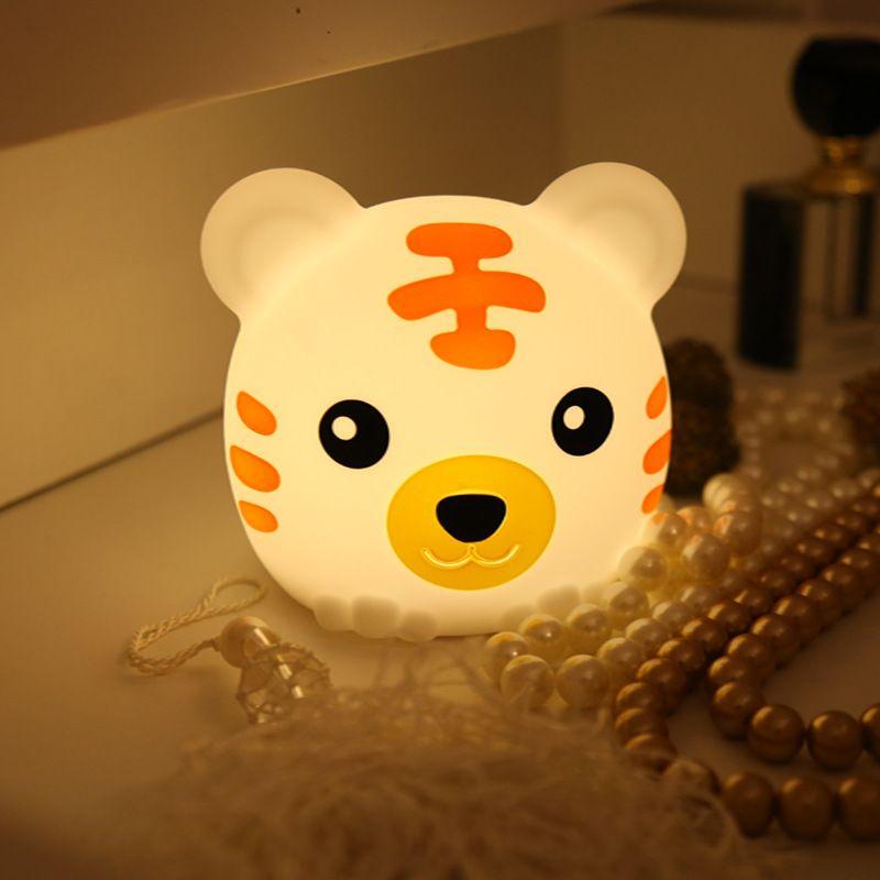 Coloré tigre silicone veilleuse chambre créative rêve table de chevet lampe charge pat lumière
