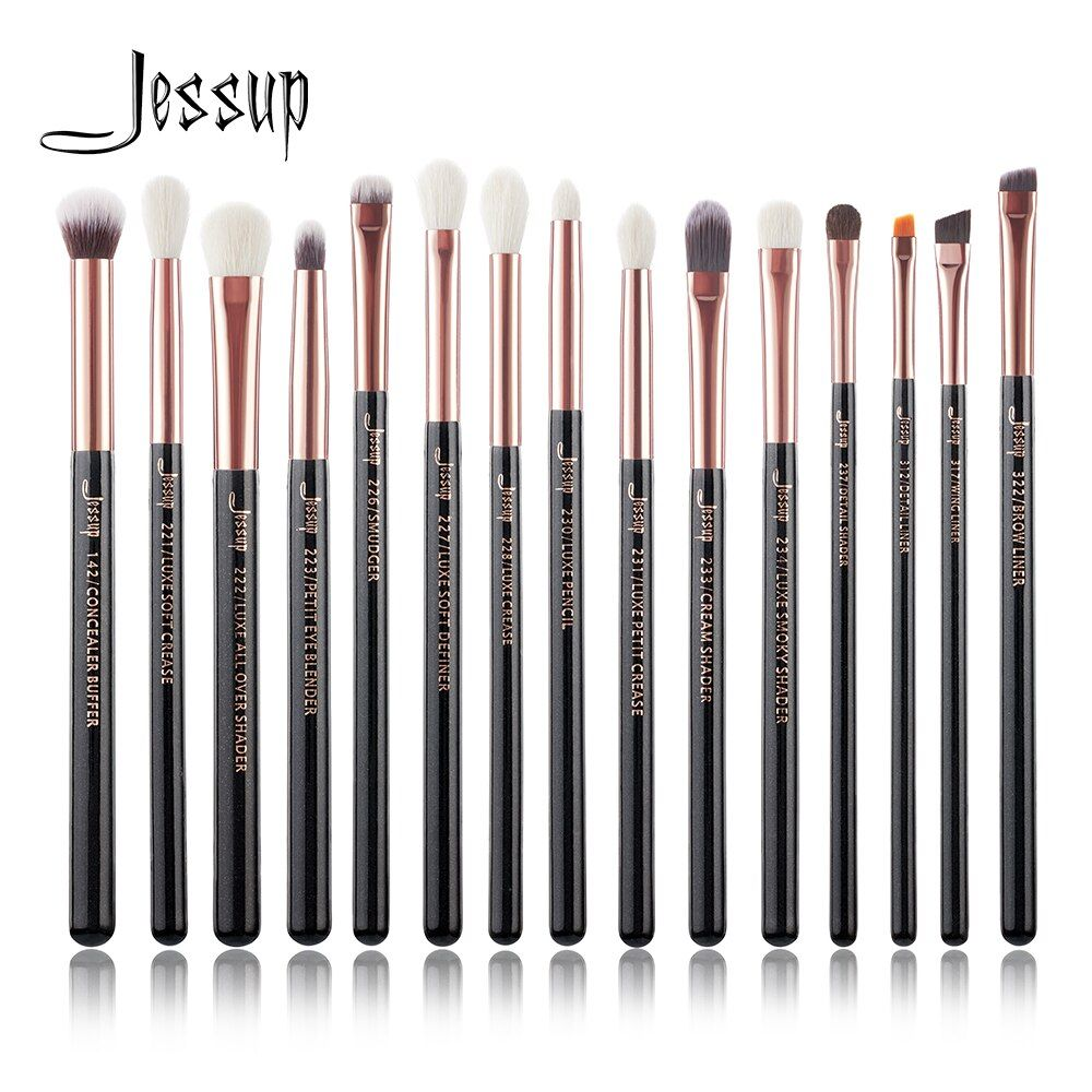 Jessup Marque Rose Or/Noir Professionnel Maquillage Pinceaux Make up Brush Outils kit Eye Liner Shader naturel-synthétique cheveux