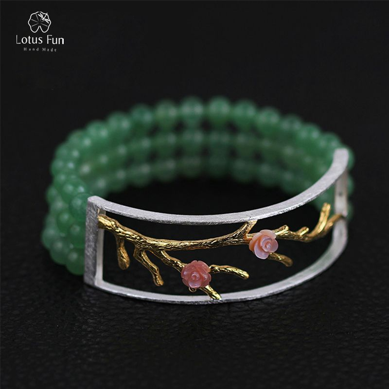 Lotus Fun Real 925 Sterling Silver Hands Bracelet for Women Luxury Natural Aventurine Stone Beads Flower Bangles Fine Jewelry