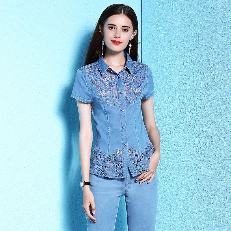 Nordicwinds Lace Shirt Denim Blouses Women Tops Big Sizes XXXL Floral Embroidered Summer Short Sleeve Jeans Blouse 2018 Trending