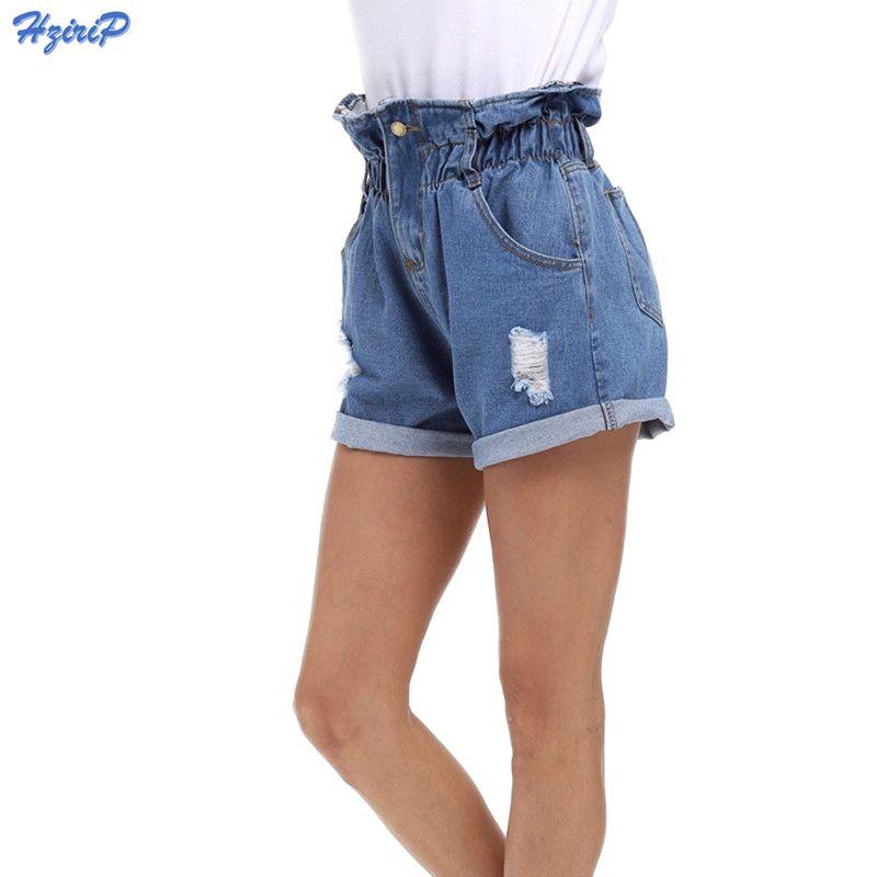2018 New Summer Denim Shorts Women <font><b>Curling</b></font> Hole Loose Casual Short Feminino Elastic High Waist Jeans Shorts Plus Size S-5XL