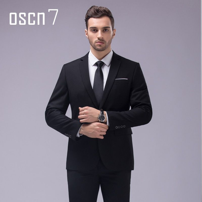 OSCN7 12 Color 2pcs Slim Fit Suits Men Notch Lapel Business Wedding Groom Leisure Tuxedo 2017 Latest Coat Pant Designs S-4XL