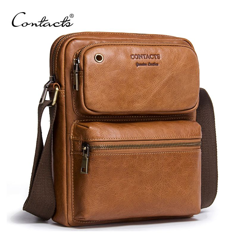 CONTACT'S 2018 New Arrival Genuine Cowhide Leather Bolsa Men's CrossBody Bags Shoulder Bags For Men Messenger Bag Male Style Bag