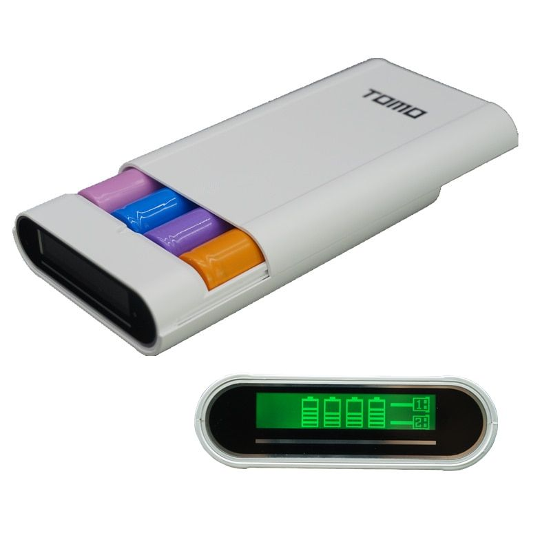 TOMO V8-4 Intelligente Portable DIY Affichage Boîte de Banque de Puissance 18650 Batterie Chargeur 5V2A Powerbank Cas Tomos Pour Iphone (PAS batterie)