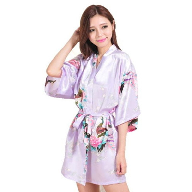Top Quality Lavender Peacock Pattern Short Design Wedding Bridal Kimono Robe Satin Lady Night Dress Gown Women Nightgown