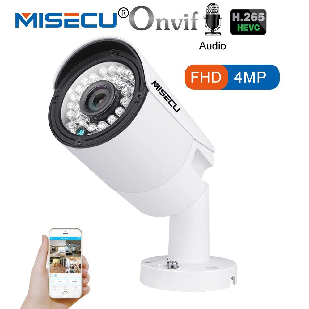 MISECU 4.0MP H.265/H.264 48V POE Audio Record Hi3516D OV4689 IP Camera Metal Waterproof ONVIF P2P 36 IR LED Night View Email
