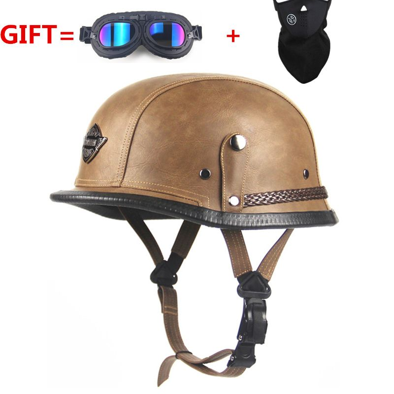 Open Face Half Leather Helmet Harley WWII Style BLACK German Motorcycle Half Helmet Chopper Biker Pilot Vespa