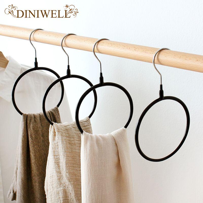 DINIWELL 2 pcs/ensemble PVC Multifonctionnel cintre foulard en soie étagère de rangement Étagère Toroïdal porte-cintre Cravate Vêtement porte-serviettes