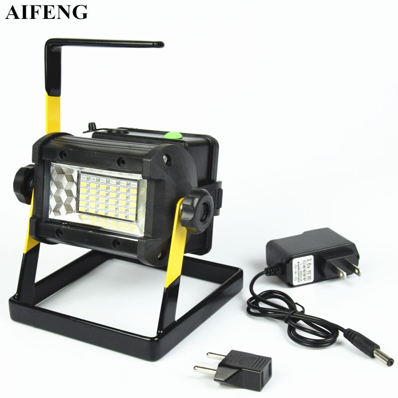 AIFENG 50W Portable Spotlight SMD 5730 36Led Floodlight 2400LM 18650 Battery Rechargeable Portable Spotlight For Hunting Camping