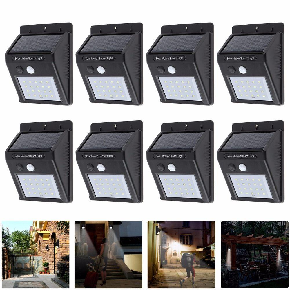 8pcs Waterproof LED Rechargeable Solar Lamp 20 LED PIR Motion Sensor Outdoor Wall Light for Garden / Yard / Driveway