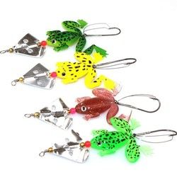 1pcs Soft Rubber Frog Fishing Lure Bass CrankBait 3D Eye Simulation Frog Spinner Spoon Bait  8cm 6g Fishing Tackle Accessories