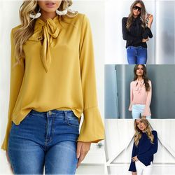 SHIBEVER New lacing Flare Sleeve chiffon blouse long/short sleeve office women tops and blouses Summer Elegant shirts NLD748