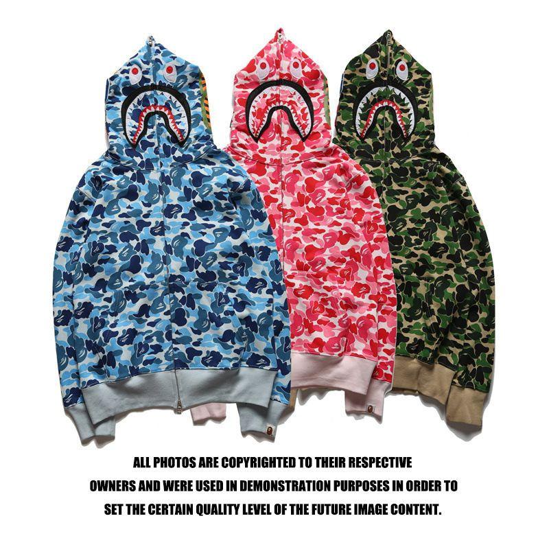 a bathing ape shark hoodie sweatshirt camouflage print tricolor bathing ape