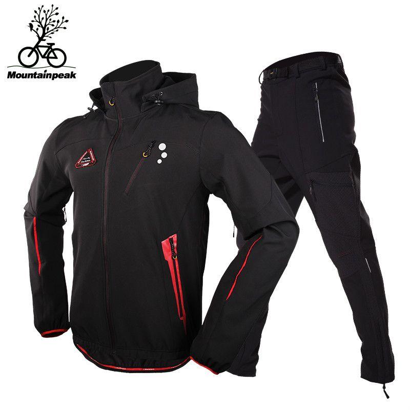 2018 Winter Radfahren Jersey Setzt Thermische Fleece Kleidung Langarm Winddicht Reflektierende Jacke Bike Triathlon Uniform Kleidung